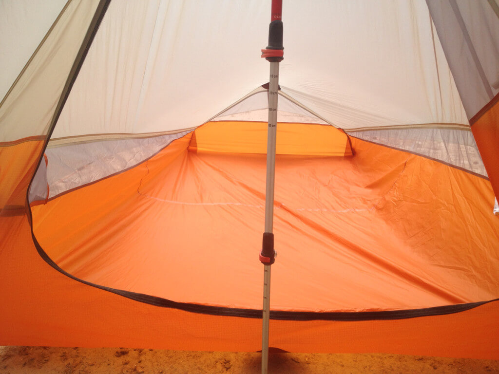 A look inside the sleeping area of the tent.